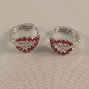 Jewelry - 18KWGF Flower Leaf Red Topaz Zircon Hoop Earrings
